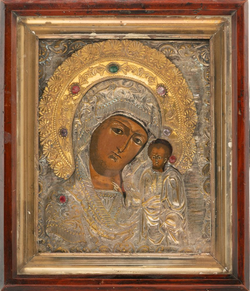 Kazan icon of the Mother of God with an embossed brass frame Russia