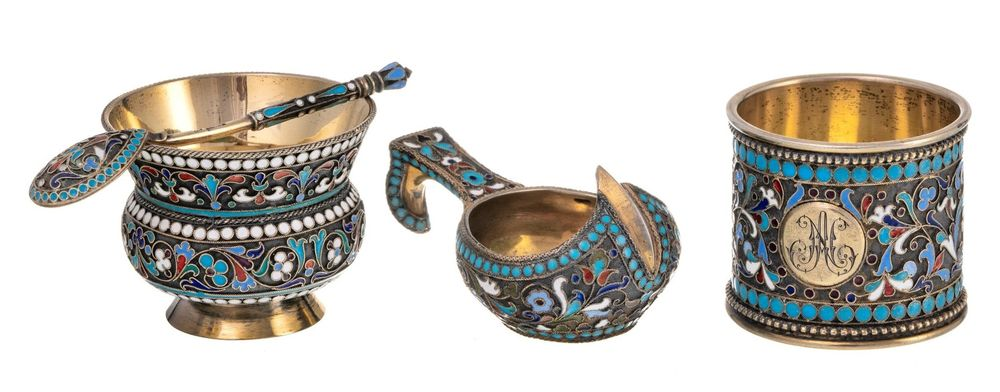 A cup, serviette ring, small kovsh and cloisonne enamel vermilion spoon