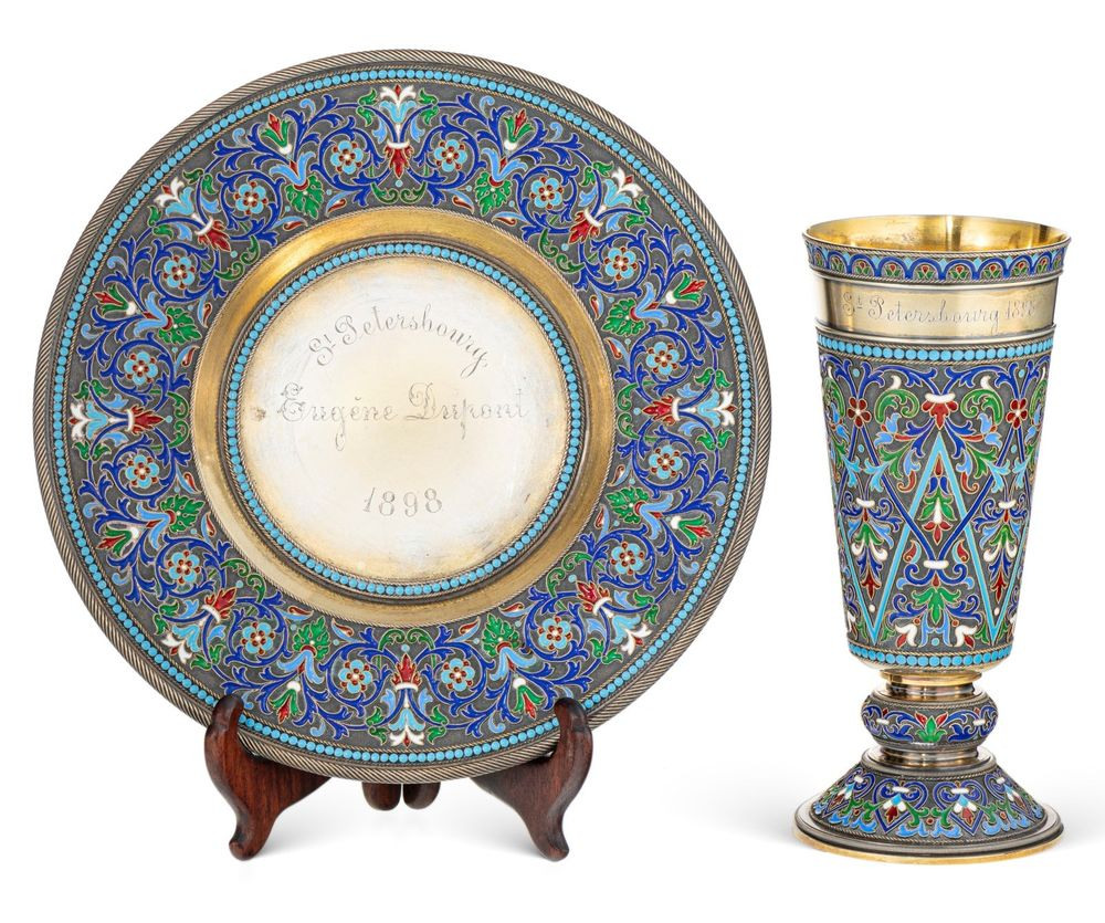 Chalice and plate with cloisonne enamel, Grachev