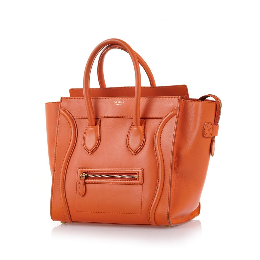 Celine orange calfskin luggage tote bag, 30*30 cm.