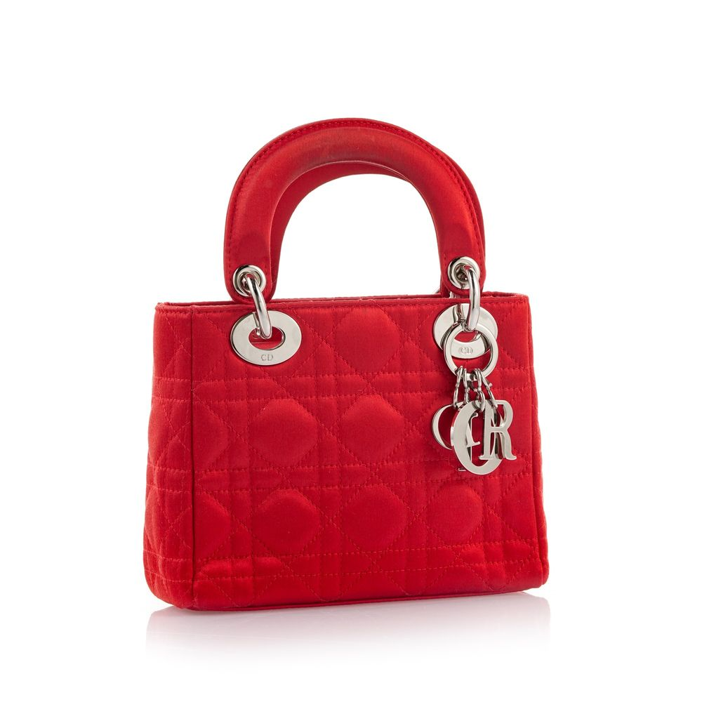 Christian Dior red satin mini Lady Dior, 14*17 cm.