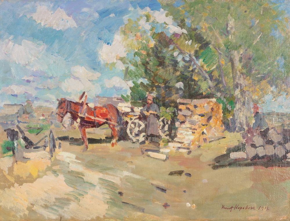 Korovin Konstantin Alekseevich. Horse and carriage.