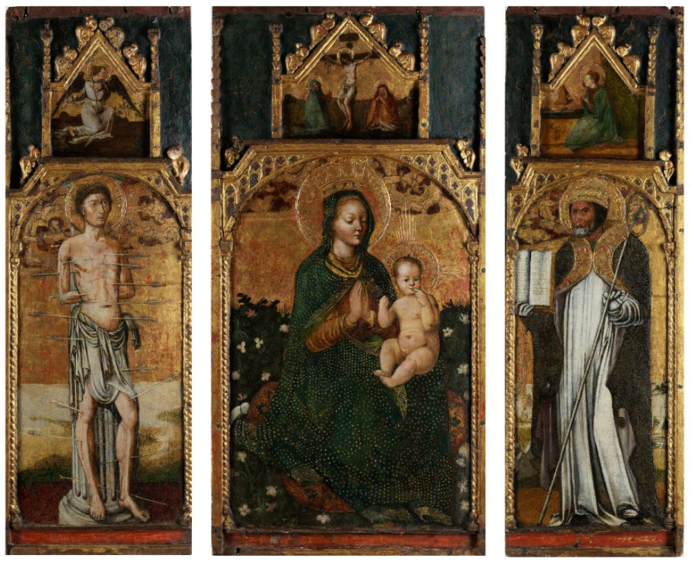 Giovanni Donato Montorfano. The altar triptych The Virgin and Child between St. Sebastian and St. Fabianus
