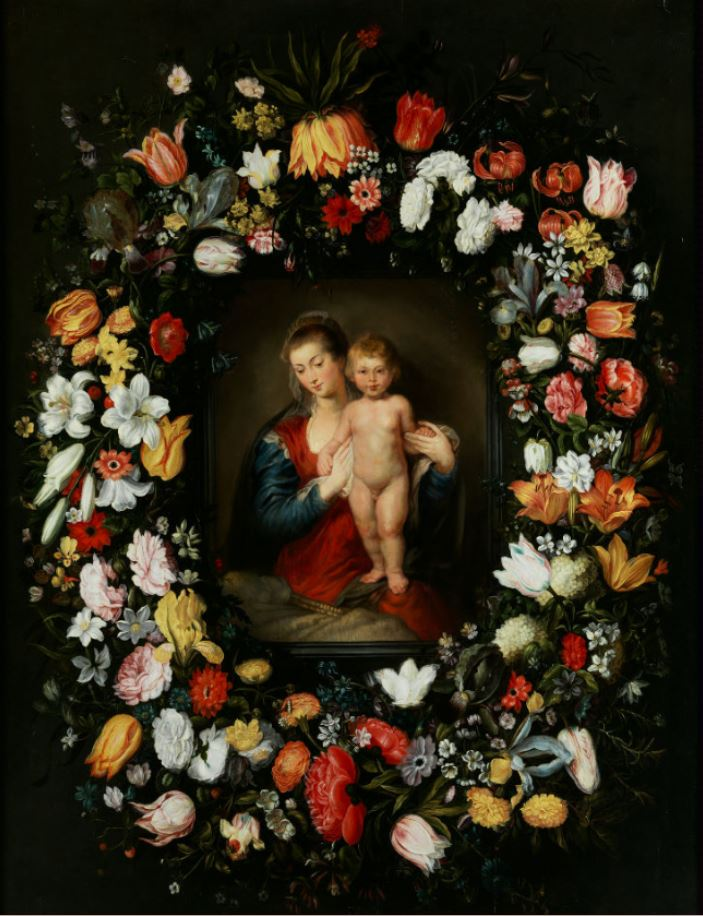Jan Brueghel the Younger and Otto van Veen. Virgin and Child in a Flower Garland