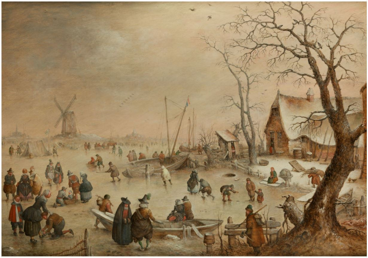 Hendrick van Avercamp. Winter Fun in a Icy Polder Landscape