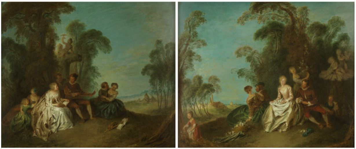 Jean-Baptiste François Pater. The pair of paintings Le Concert Champêtre and La Cueillette des Roses