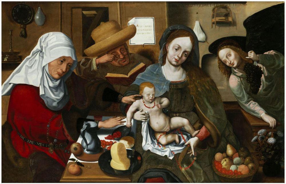 "Hermann Tom Ring (1521, Münster – 1596), attributed. ""Mary with the Child and Her Parents Anna and Joachim"""