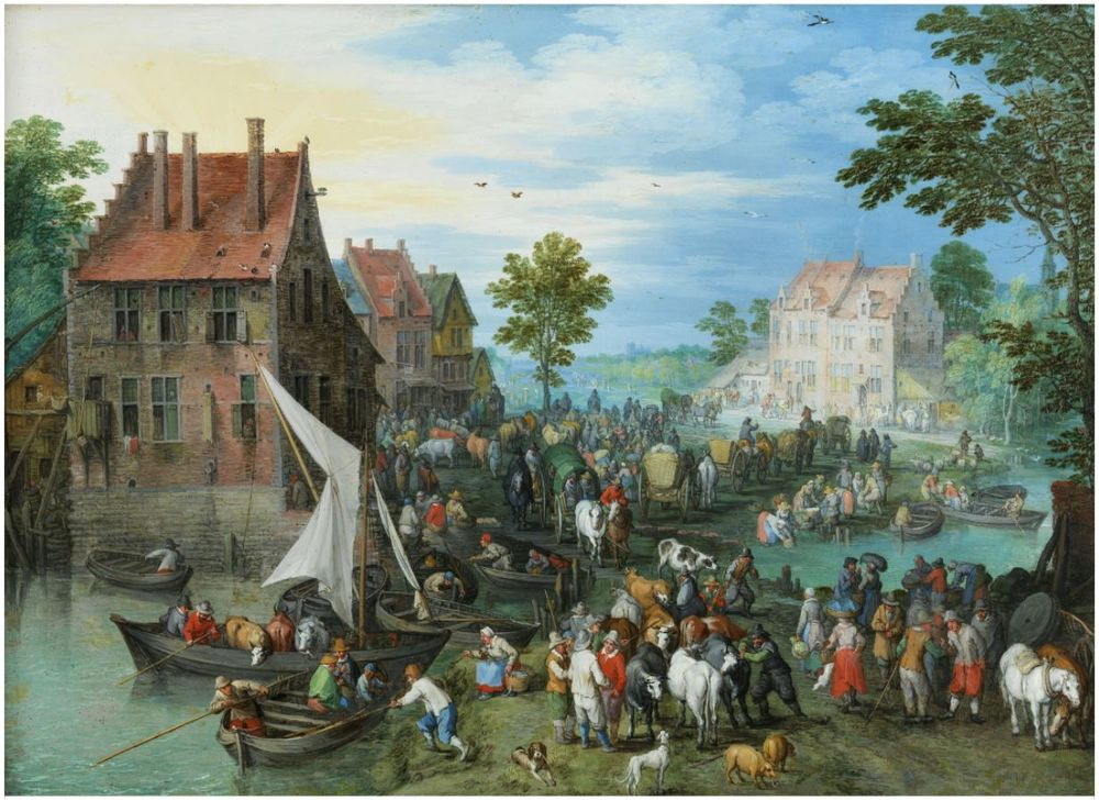 "Jan Brueghel the Elder (1568, Brussels – 1625, Antwerp). ""A Village Landscape at the Water with Animal Market"""