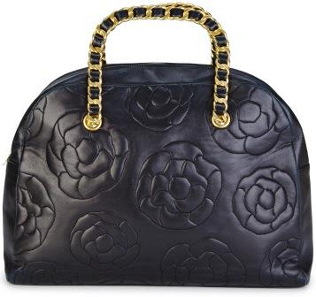Chanel quilted leather bag with flower ornament
