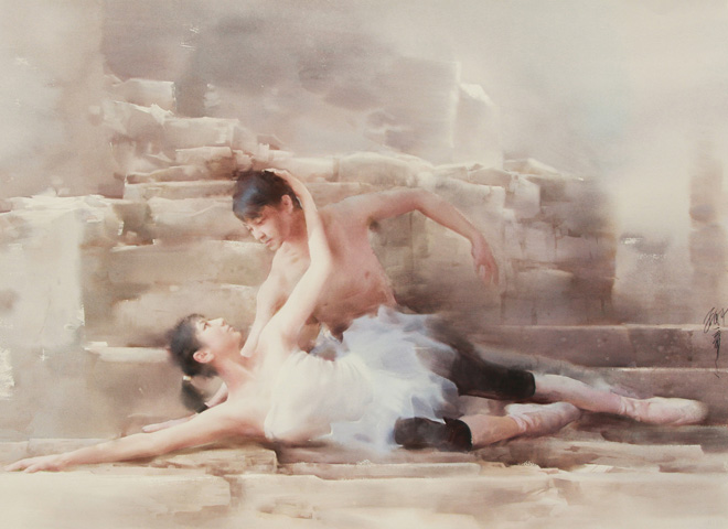 Ballet, watercolour, Liu Yi