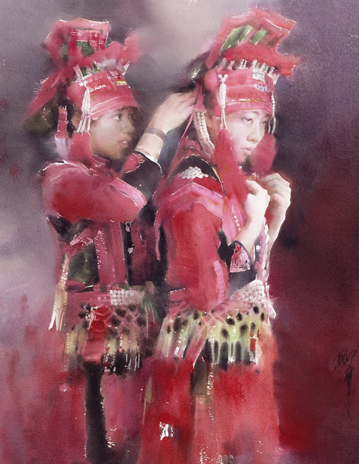 Figures, watercolour, Liu Yi