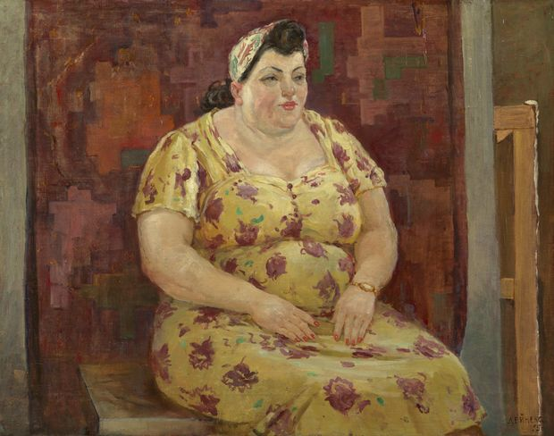 Alexander Deineka. Woman in a Yellow Dress. Oil on canvas, 65 by 83 cm. 1955