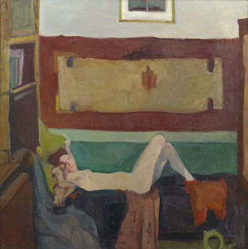 Georgy Nissky. Reclining Nude. Oil on canvas, 93.5 by 92.5 cm. c. 1959