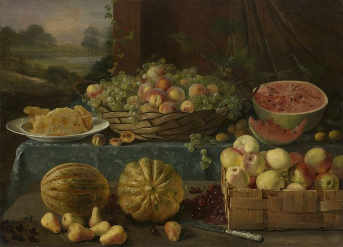 Ivan Khrutsky. Still Life with Fruit and Honeycomb. Oil on canvas, 80.5 by 111.5 cm. 1840