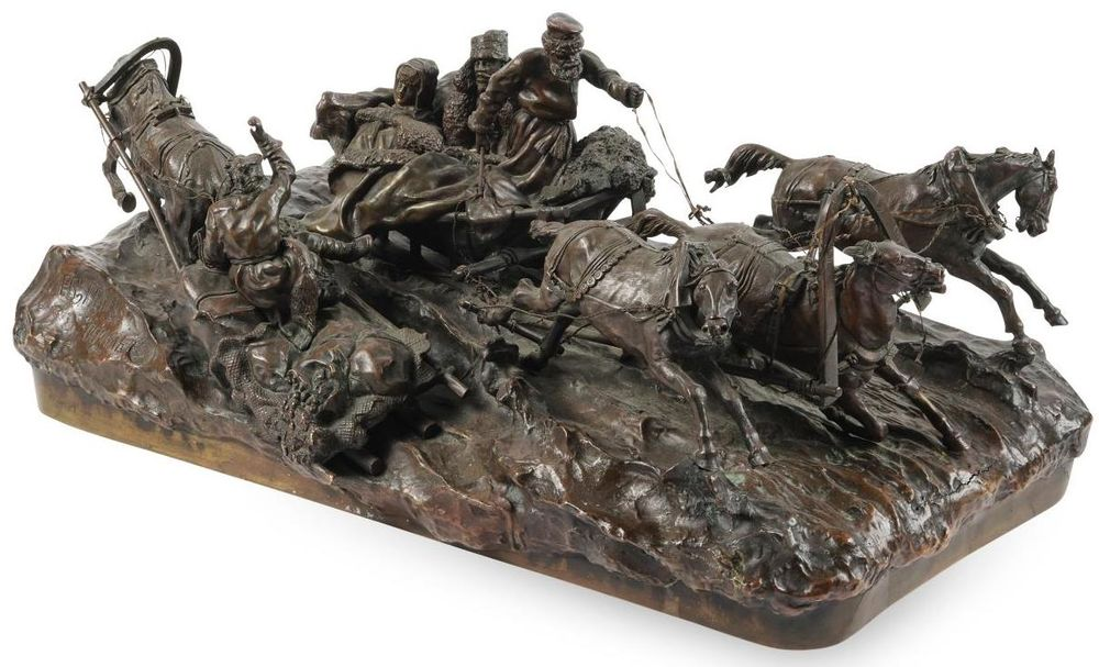 Vasily Grachev. A bronze sculpture Travellers on a Troika Passing a Sledge