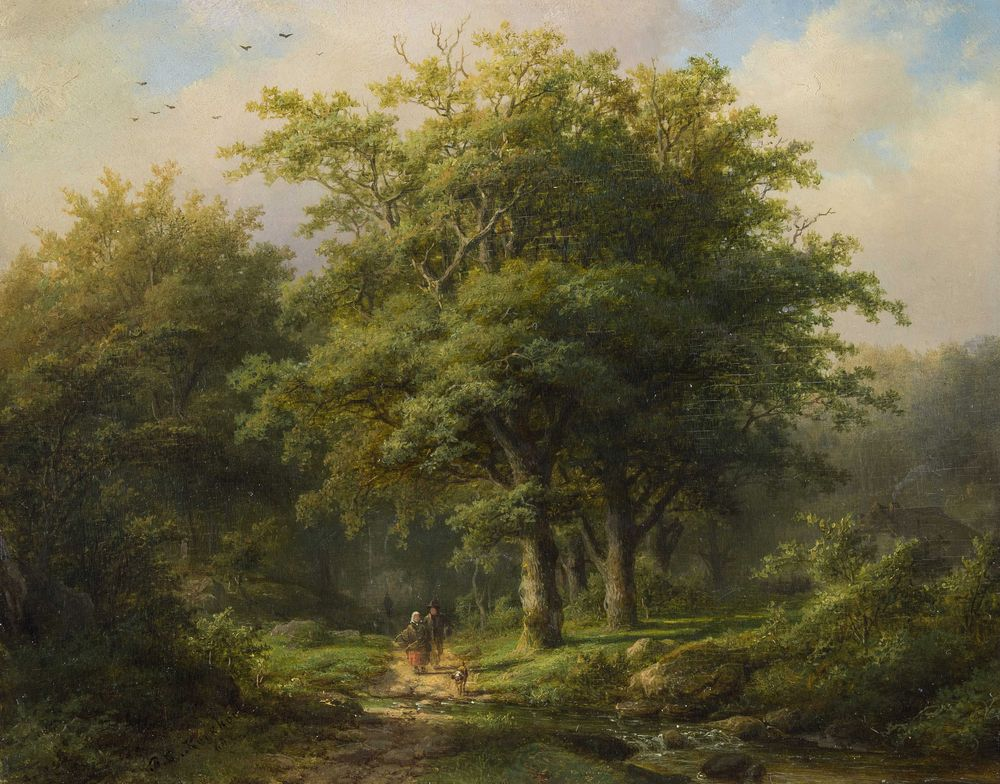 Johann Berhard Klombeck. Forest Landscape with Travelers