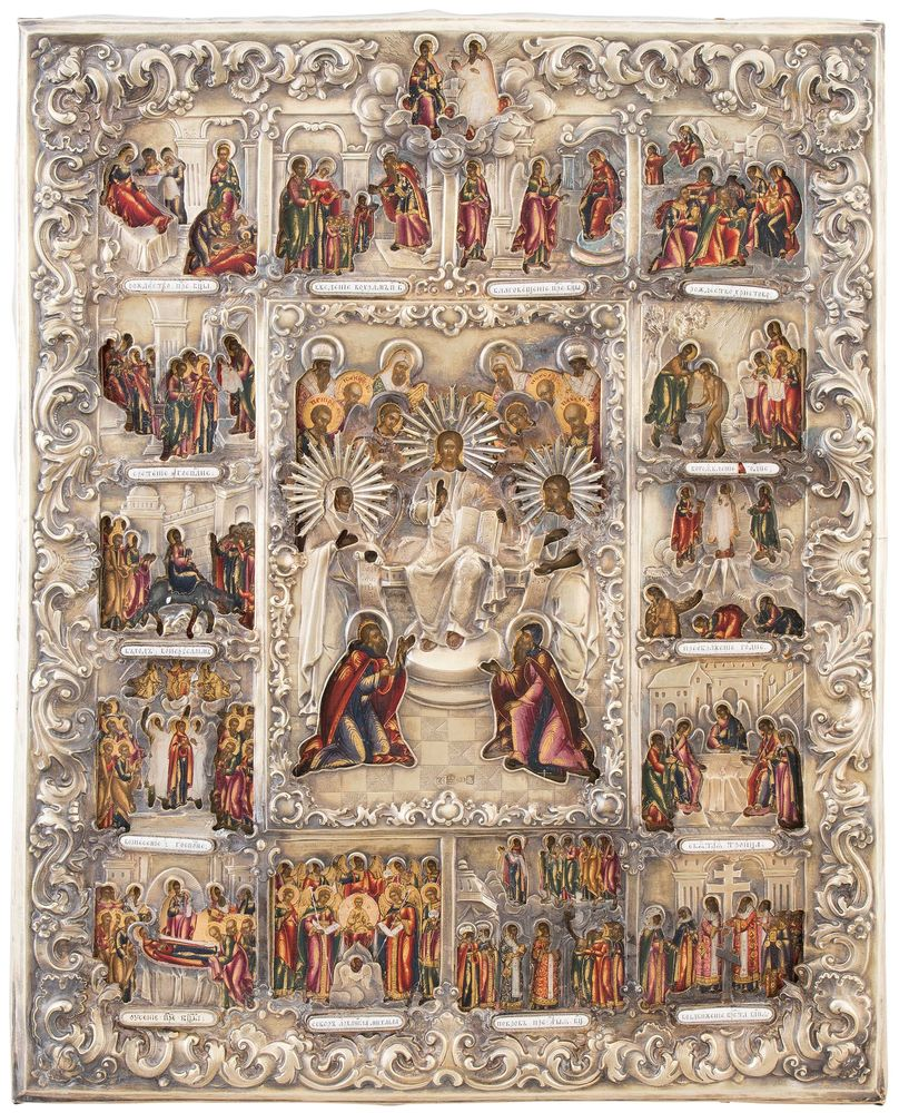 "A large icon showing the ""Great Feasts"" with casing. Russia, 19th century."