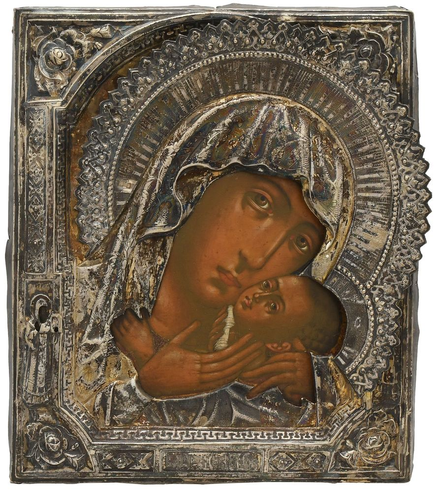 An icon of the Mother of God of Korsun with casing. Russia, 19th century.