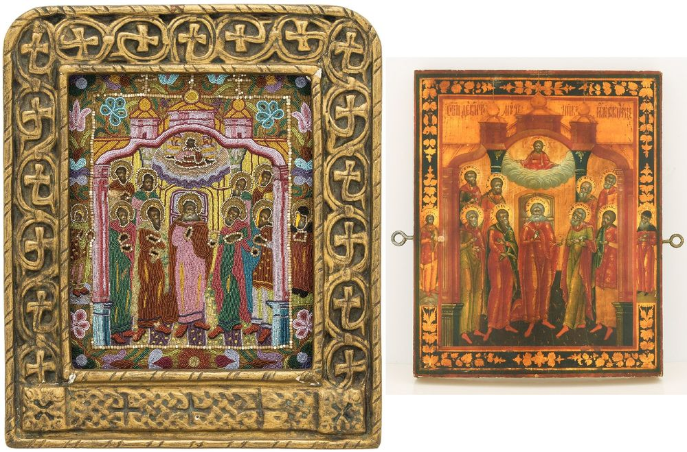 An icon with glass bead embroidered casing and frame (on on the photo: with and without casing). Russia, XIX century.