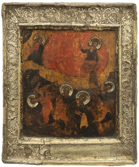 Fiery Ascent of the Prophet Elijah icon. Russia, around 1600.