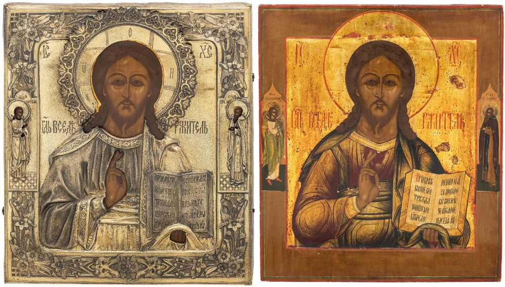 Christ Pantocrator icon (on the photo: with and without casing). Russia, XIX century.