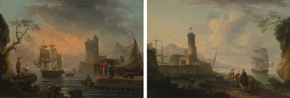Pierre Joseph Wallaert. Paired paintings Views of the harbour