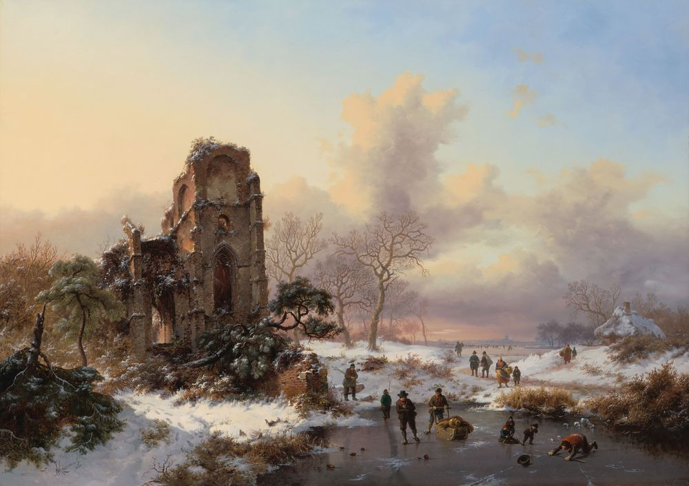 Frederik Marinus Kruseman. A winter landscape with winter fun on ice at the ruins of Villers-la-Ville