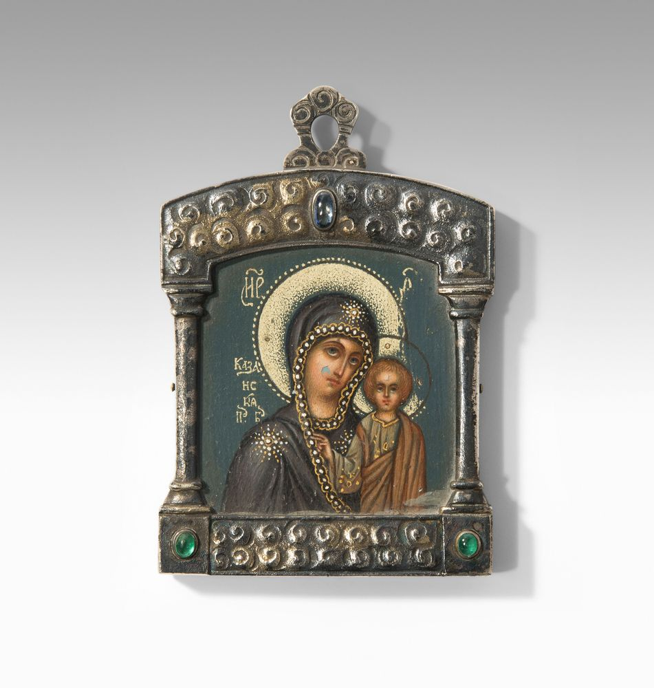 Faberge Our Lady of Kazan icon pendant. Russia, ca. 1910.