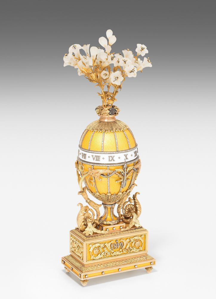 A Bouquet of Lilies Clock Egg, after Faberge.