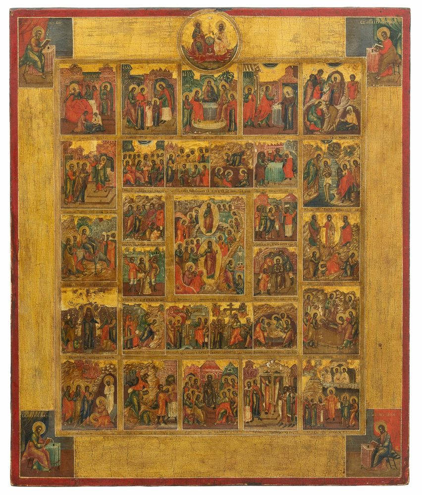 A large icon The Great Feasts and The Passion of the Christ. Russia, XIX century.