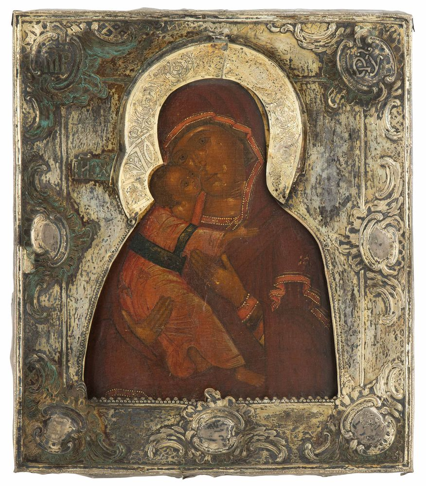 Our Lady of Vladimir with gilt basma casing. Russia, end of XVIII century.
