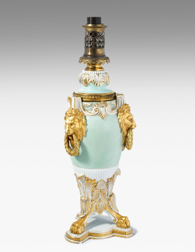 A turquoise and gold painted petroleum-lamp with mark of Alexander II