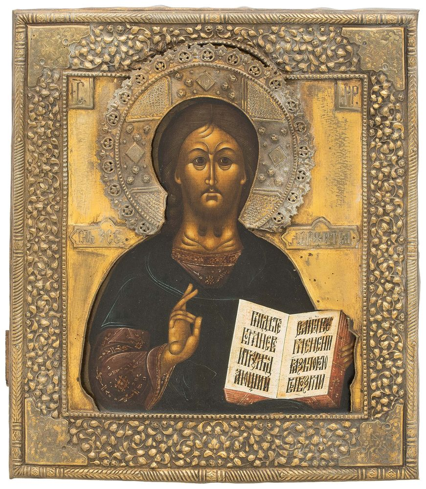 Icon of Christ Pantocrator in oklad.