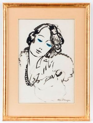 Kees van Dongen (1877-1968), Portrait of Edmonde Guy, Chinese ink on paper and watercolour, 50x33 cm
