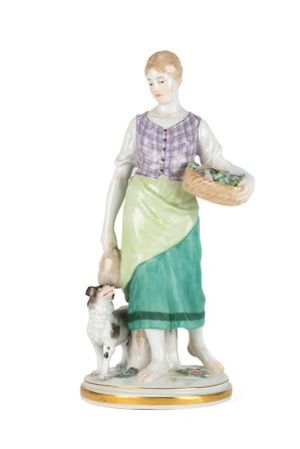 Porcelain figurine Garden Maiden with Dog, h. 25,5 cm, Meissen, 1910