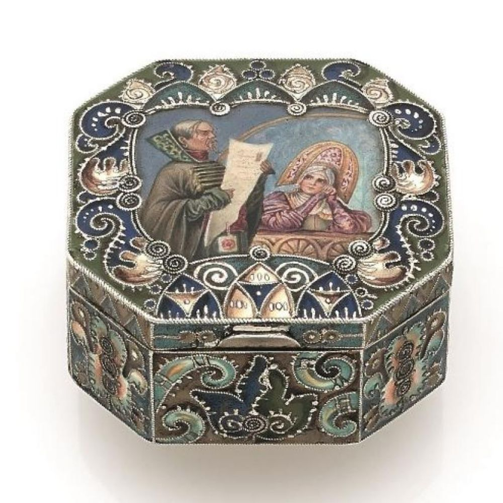 Octagonal decorative Fabergé box.